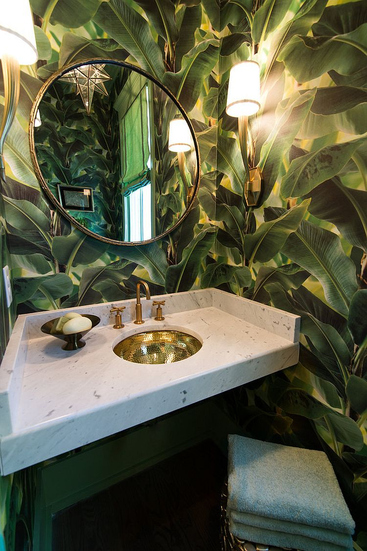 Gorgeous wallpaper brings the charm of large tropical plants indoors [Design: Our Town Plans / Jennifer Schoenberger]