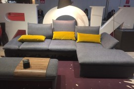 'Gray contemporary couch with yellow accent pillows - Koinor at iSaloni 2016