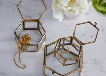 Hexagonal trinket boxes from West Elm