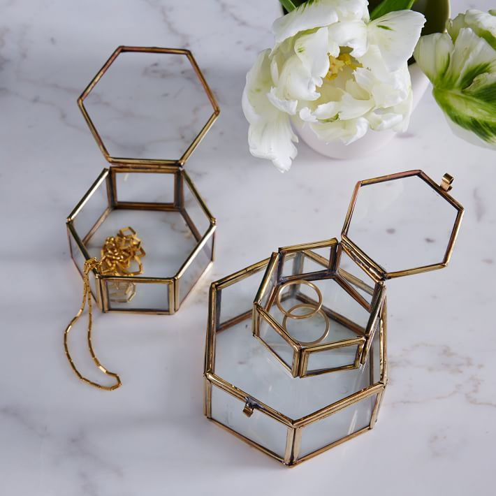 Hexagonal trinket boxes from West Elm