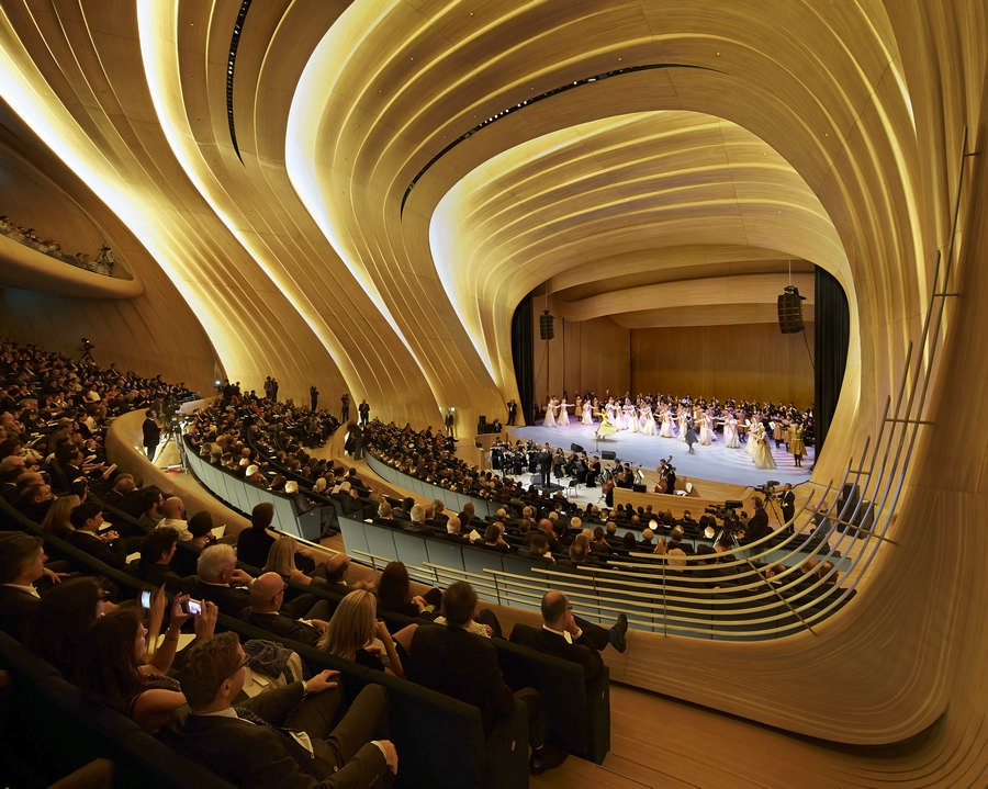 Heydar Aliyev Centre auditorium. Photo by Hufton + Crow via e-architect.