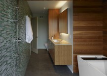 Horizontal paneling in a wooden bathroom