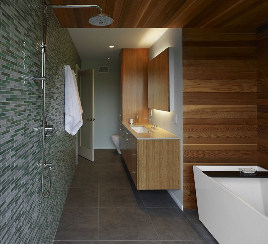 View In Gallery Horizontal Paneling In A Wooden Bathroom