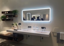 Illuminated mirror frame steals the show here