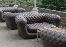 Inflatable black chesterfield sofas from Blofield Air Design
