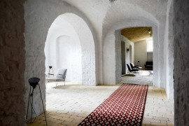 Interior of the revamped Berlin apartment with lovely textured walls