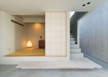 Japanese styled room and Doma on the lower level of the house 217x155 Modern Industrial Japanese Home Redefines Boundaries of Style and Space