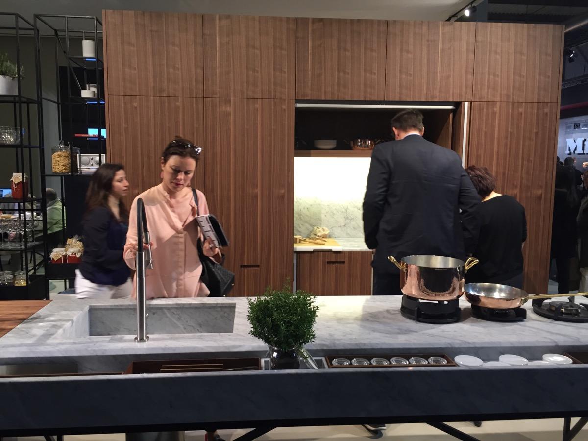 Kitchen island with storage nook from Polaris at EuroCucina 2016