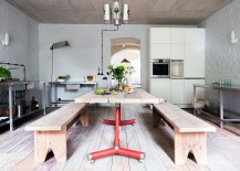 Kitchen table on wheels for the rustic interior