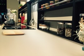 Kitchen workstation and shelves at the Polaris stand – EuroCucina 2016, Milan