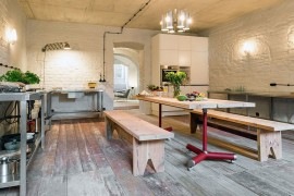 L-shaped kitchen workstation for the rustic modern kitchen with relaxed ambiance