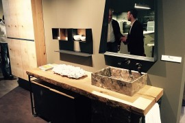 Live edge bathroom vanity designed by Dario Poles