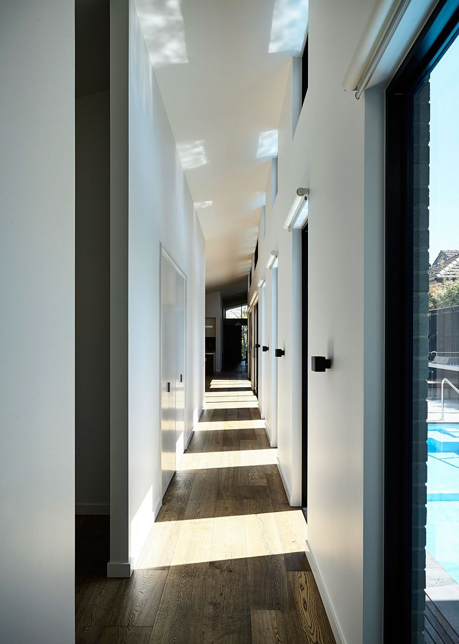 Long corridor next to the courtyard brings in ample natural light