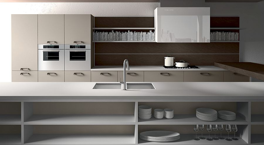 Long kitchen island in white with open shelves