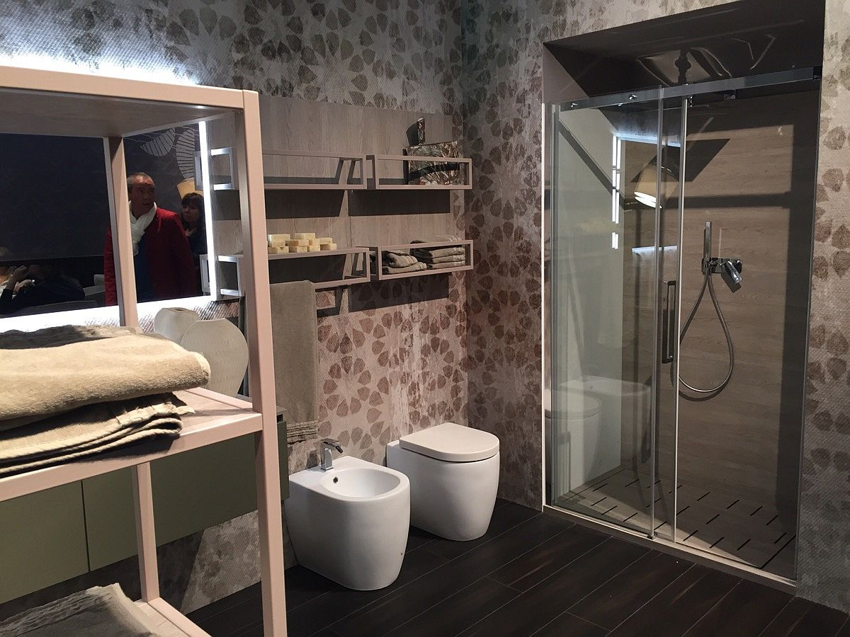 Look at open shelves and shower design by Cerasa from Salone del Mobile 2016