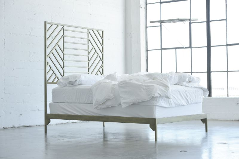 Metal geo bedframe from Jenifer Janniere Designs