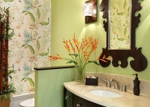 Mirror frame seems to complement the pattern of Thibaut wallpaper in the powder room 217x155 Hot Summer Trend: 25 Dashing Powder Rooms with Tropical Flair