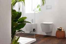 Modern bathroom with glass shower area