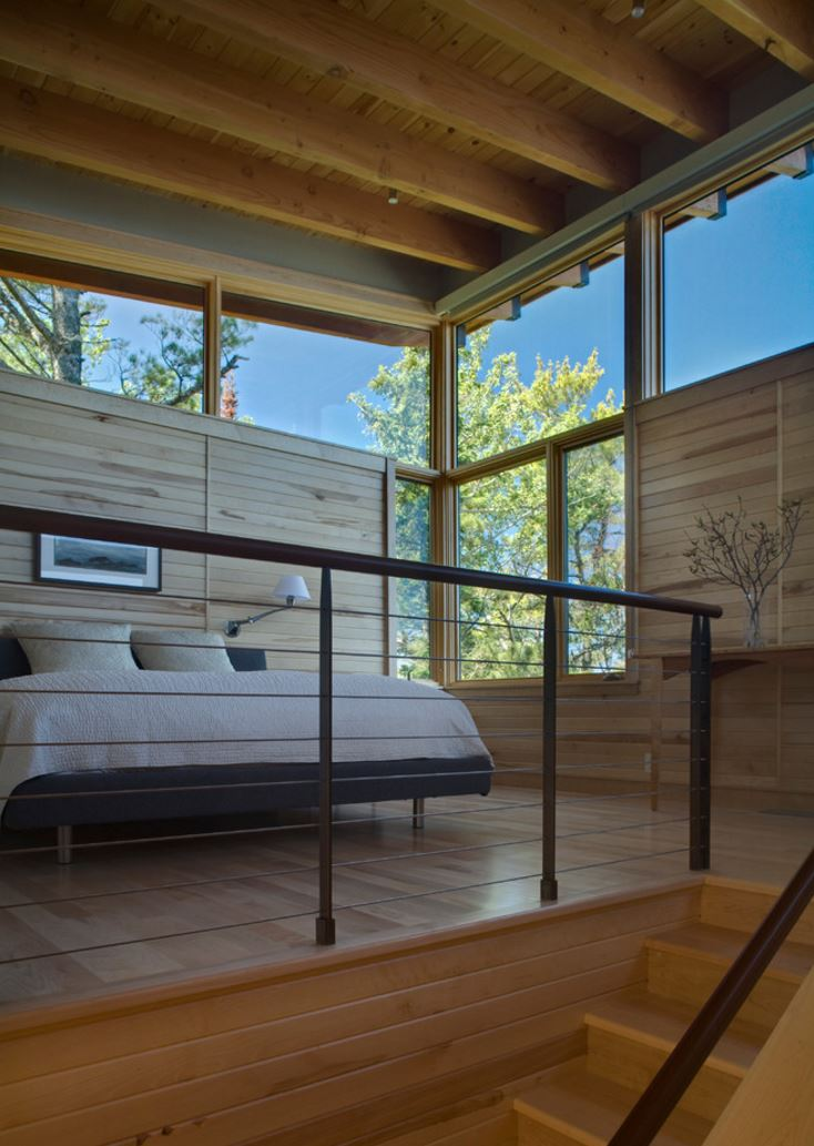 Modern cabin with wooden paneling