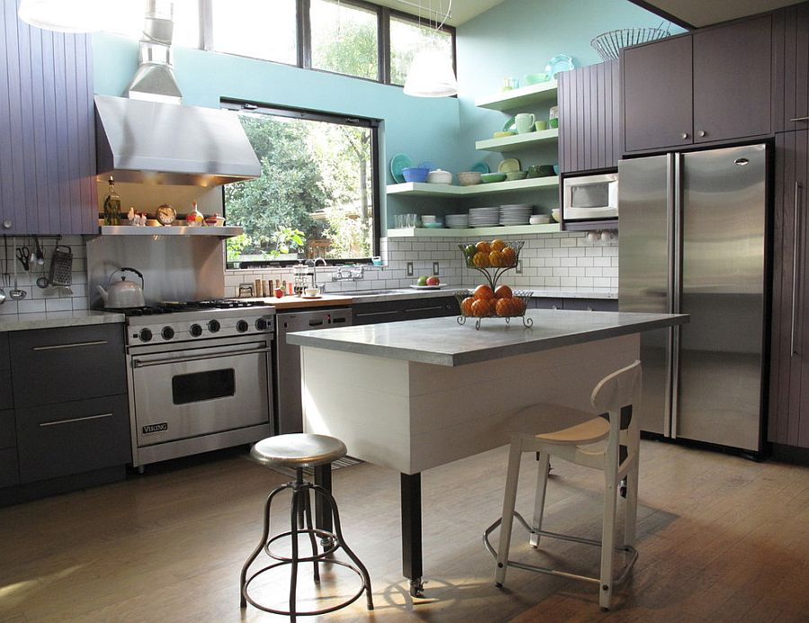 Modern industrial kitchen with a punch of color