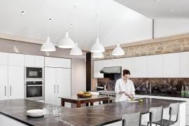 Modern kitchen of prefab home in Austin