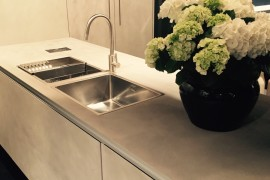 Nifty island design with a stainless steel sink