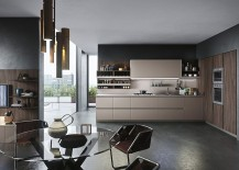 Oak and brown finishes create a classy moern kitchen