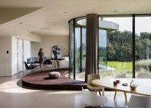 Open living area, dining space and kitchen of the smart home in Holland