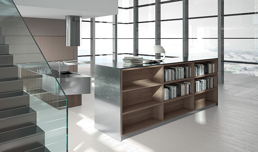 Open shelf unit separates the kitcehn from the rest of the open plan living