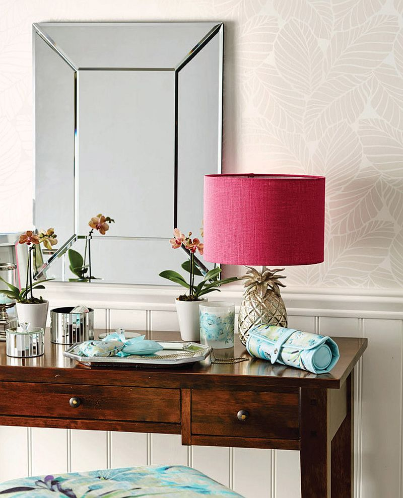 Palm Leaf White wallpaper brings tropical flavor in an understated fashion [Design: Laura Ashley USA]