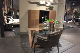 Polsihed design meets natural wooden elemnts with the Natuzzi display ate iSaloni 2016