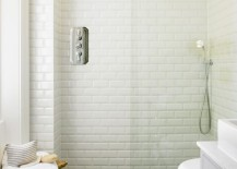 Porcelain planks are ideal for the powder room