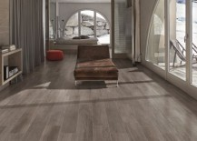 Porcelain planks in a sleek living area