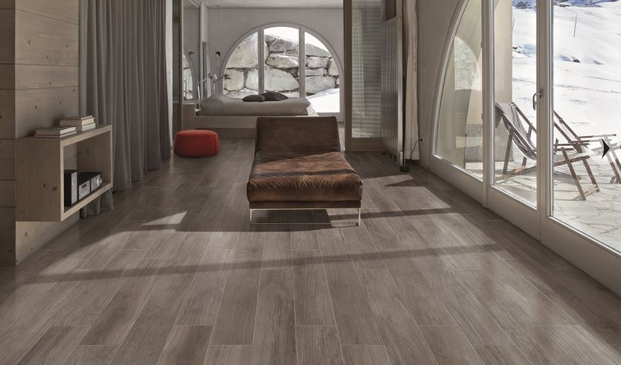 Porcelain planks in a sleek living area