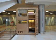 public stacked sleeping pods