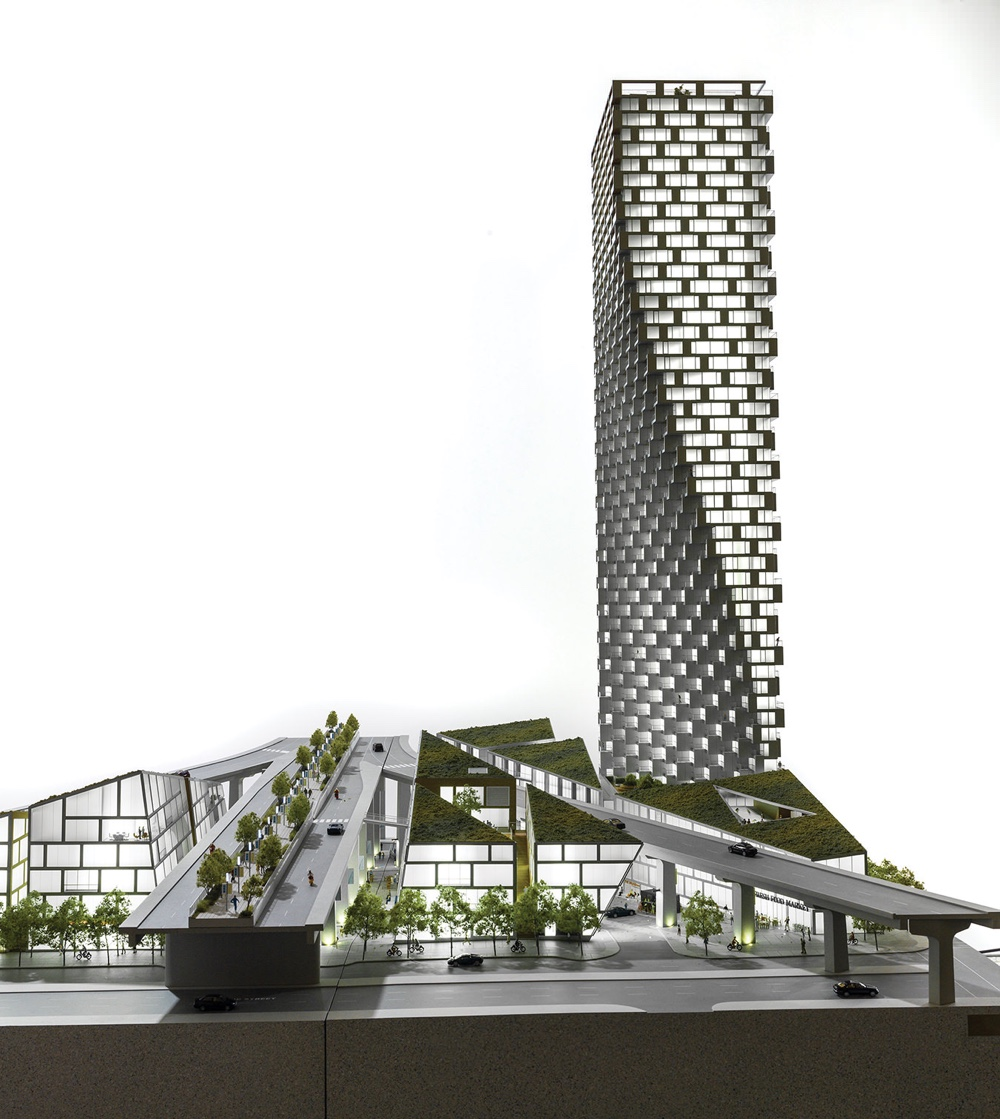 A rendering of Vancouver House by Bjarke Ingels and BIG.