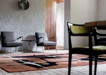 Rug adds color to the white interior