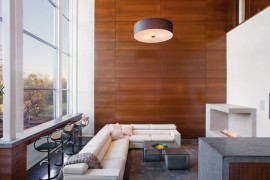Sapele wood panels in a modern living area