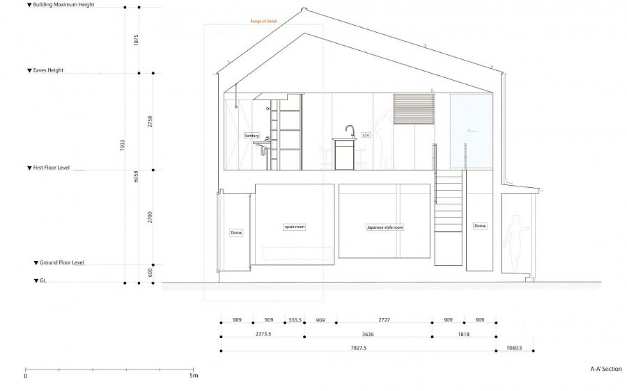 Sectional view of the private home in Nagaoka, Japan