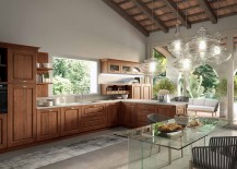 Series of closed wooden cabinets and open shelves for the modern kitchen