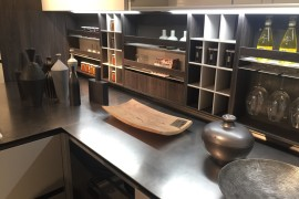 Series of open wooden shelves in the kitchen for all your storage needs