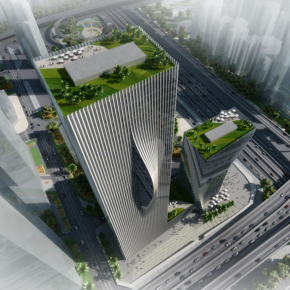 Shenzhen Energy HQ aerial rendering