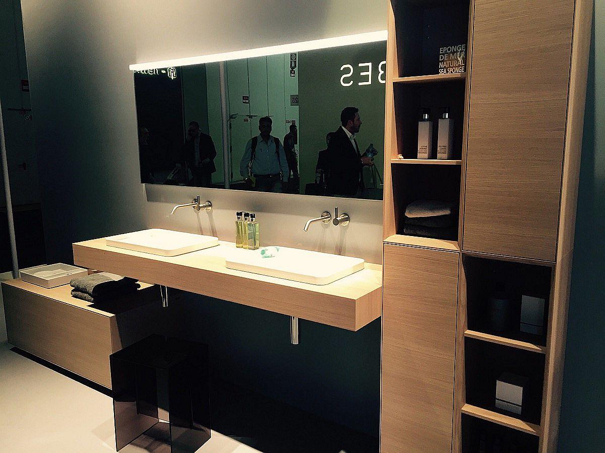 Sleek, floating wooden vanity by Laufen Bathrooms