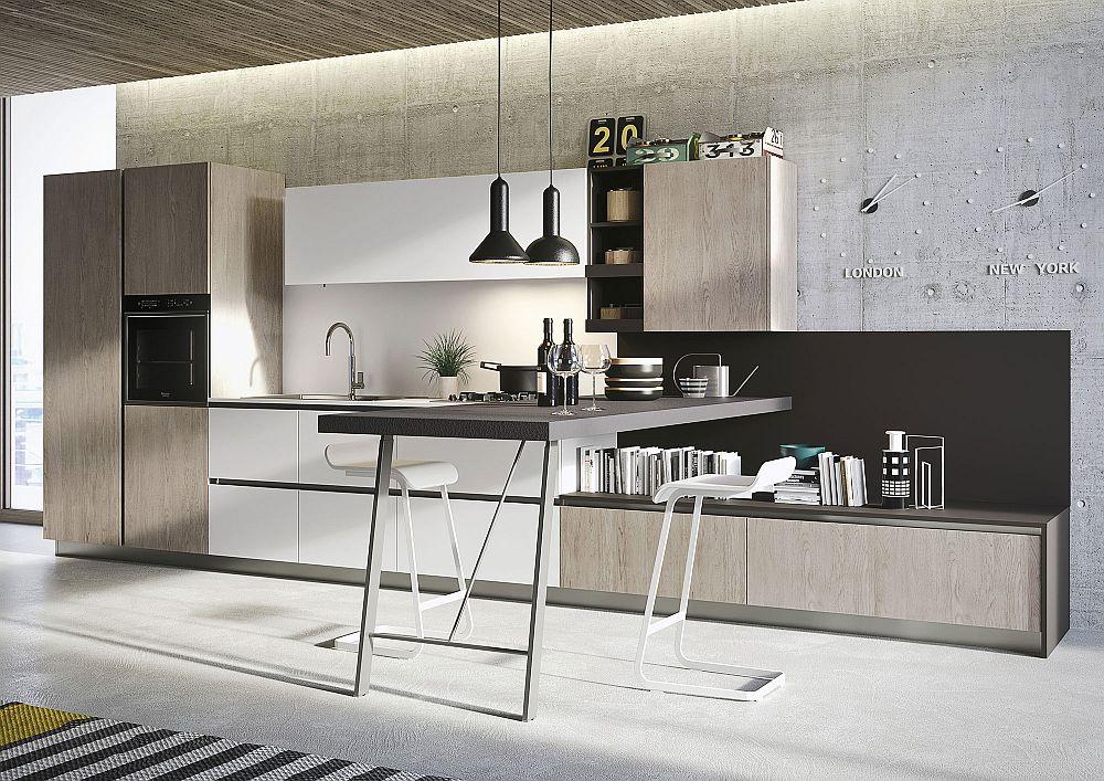 Sleek kitchen workstation and breakfast zone design save on space