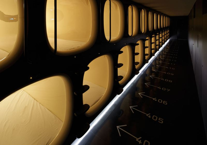 Sleeping pods at Kyoto's Nine Hours pod hotel