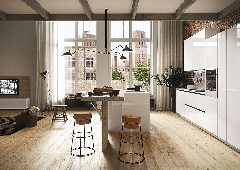 Slim and modern design of the kitchen next to the open plan living space