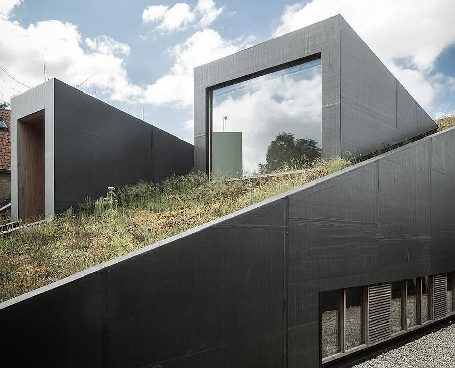 Sloped green roof of House Pibo in Belgium