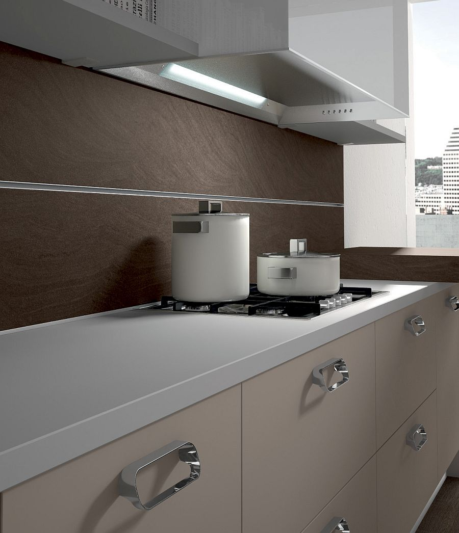 Smart cabinets with custom handles for the sleek, contemporary kitchen