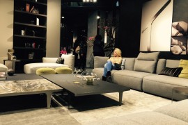 Sofa and coffe table at Natuzzi stand - Slaone del Mobile 2016