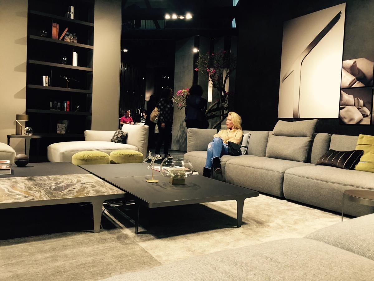 Sofa and coffe table at Natuzzi stand – Slaone del Mobile 2016